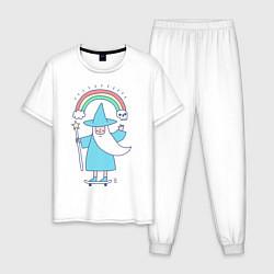 Пижама хлопковая мужская Skate mage цвета белый — фото 1