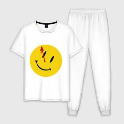 Пижама хлопковая мужская Cмайл с кровью цвета белый — фото 1