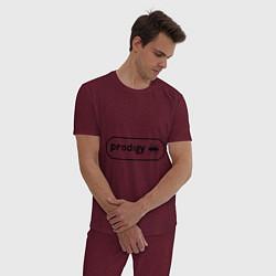 Пижама хлопковая мужская Prodigy лого с муравьем цвета меланж-бордовый — фото 2