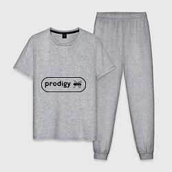 Пижама хлопковая мужская Prodigy лого с муравьем цвета меланж — фото 1
