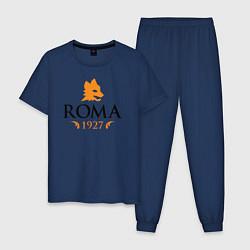 Пижама хлопковая мужская AS Roma 1927 цвета тёмно-синий — фото 1