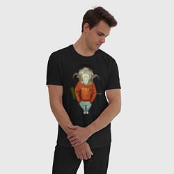 Пижама хлопковая мужская Овен настойчив цвета черный — фото 2
