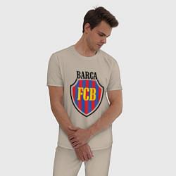 Пижама хлопковая мужская Barca FCB цвета миндальный — фото 2