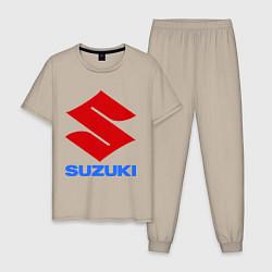 Пижама хлопковая мужская Suzuki цвета миндальный — фото 1