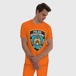 Пижама хлопковая мужская N.Y.P.D цвета оранжевый — фото 2