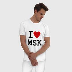Пижама хлопковая мужская I love MSK цвета белый — фото 2