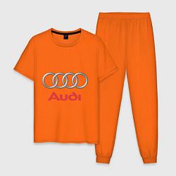 Пижама хлопковая мужская Audi цвета оранжевый — фото 1