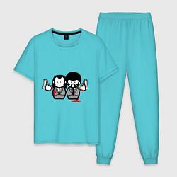 Пижама хлопковая мужская Криминальное Чтиво цвета бирюзовый — фото 1