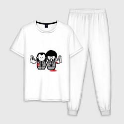 Пижама хлопковая мужская Криминальное Чтиво цвета белый — фото 1