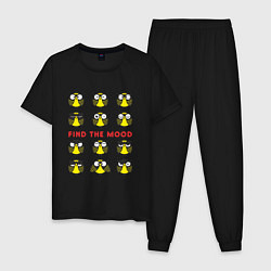 Пижама хлопковая мужская Find the Mood цвета черный — фото 1