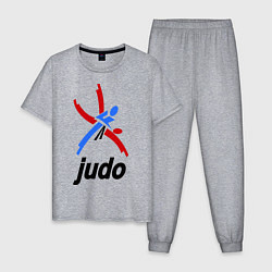 Пижама хлопковая мужская Judo Emblem цвета меланж — фото 1