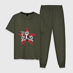 Пижама хлопковая мужская World freedom famous цвета меланж-хаки — фото 1