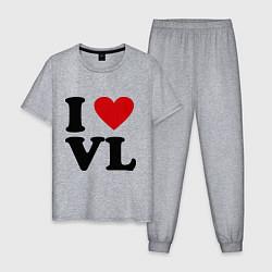 Пижама хлопковая мужская I love VL цвета меланж — фото 1