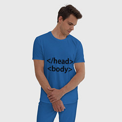 Пижама хлопковая мужская Head Body цвета синий — фото 2