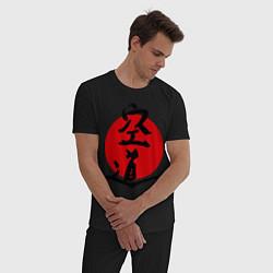 Пижама хлопковая мужская Kudo: Hieroglyph цвета черный — фото 2