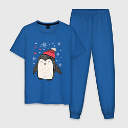 Пижама хлопковая мужская Пингвин в шапке цвета синий — фото 1