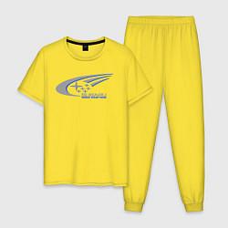 Пижама хлопковая мужская Subaru world rally team цвета желтый — фото 1
