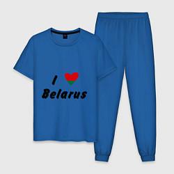 Пижама хлопковая мужская I love Belarus цвета синий — фото 1