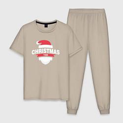 Пижама хлопковая мужская Christmas Time цвета миндальный — фото 1