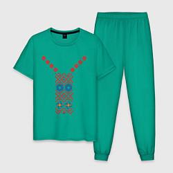 Пижама хлопковая мужская Узор славянского сарафана цвета зеленый — фото 1