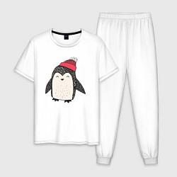 Пижама хлопковая мужская Зимний пингвин-мальчик цвета белый — фото 1