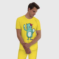 Пижама хлопковая мужская Drop dead цвета желтый — фото 2