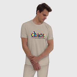 Пижама хлопковая мужская Хаос- высшая степень порядка цвета миндальный — фото 2