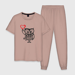 Пижама хлопковая мужская Сова с сердцем цвета пыльно-розовый — фото 1
