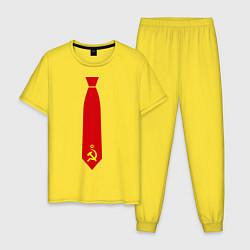Пижама хлопковая мужская Советский галстук цвета желтый — фото 1