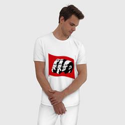 Пижама хлопковая мужская Маркс, Энгельс, Ленин цвета белый — фото 2