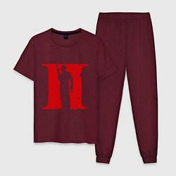 Пижама хлопковая мужская Мафия цвета меланж-бордовый — фото 1