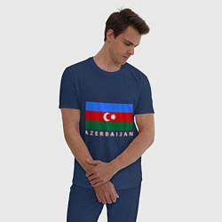 Пижама хлопковая мужская Азербайджан цвета тёмно-синий — фото 2
