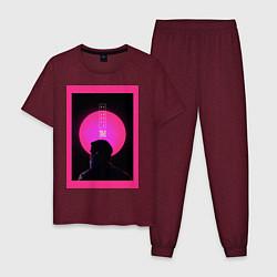 Пижама хлопковая мужская Blade Runner 2049 цвета меланж-бордовый — фото 1