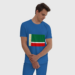 Пижама хлопковая мужская Чечня: флаг цвета синий — фото 2