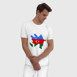 Пижама хлопковая мужская Azerbaijan map цвета белый — фото 2