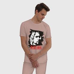 Пижама хлопковая мужская Nirvana: Kurt Cobain цвета пыльно-розовый — фото 2