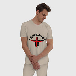 Пижама хлопковая мужская England Fans цвета миндальный — фото 2