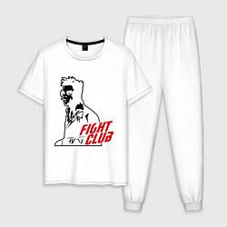 Пижама хлопковая мужская FIght Club: Tyler Durden цвета белый — фото 1