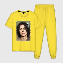 Пижама хлопковая мужская Ville Valo: Sweety цвета желтый — фото 1
