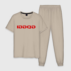 Пижама хлопковая мужская IDDQD Doom цвета миндальный — фото 1