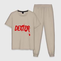 Пижама хлопковая мужская Dexter Blood цвета миндальный — фото 1