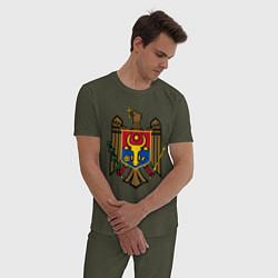 Пижама хлопковая мужская Молдавия герб цвета меланж-хаки — фото 2
