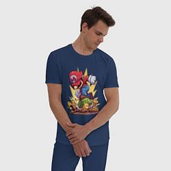 Пижама хлопковая мужская Mario Rage цвета тёмно-синий — фото 2