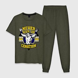 Пижама хлопковая мужская Never Give Up: Cenation цвета меланж-хаки — фото 1