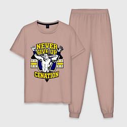 Пижама хлопковая мужская Never Give Up: Cenation цвета пыльно-розовый — фото 1
