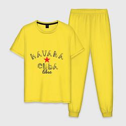 Пижама хлопковая мужская Havana Cuba цвета желтый — фото 1
