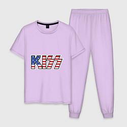 Пижама хлопковая мужская KIss USA цвета лаванда — фото 1