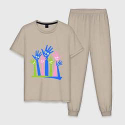 Пижама хлопковая мужская Hands Up цвета миндальный — фото 1