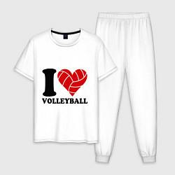 Пижама хлопковая мужская I love volleyball - Я люблю волейбол цвета белый — фото 1