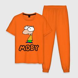 Пижама хлопковая мужская Moby цвета оранжевый — фото 1